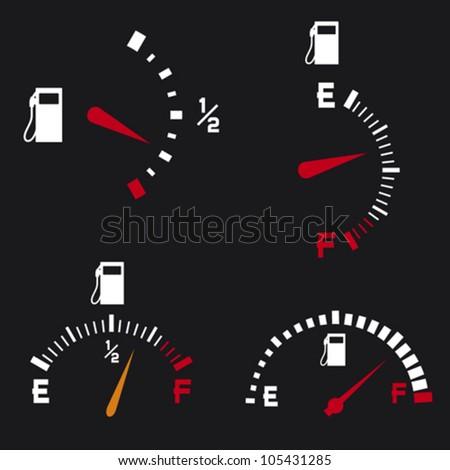 gas gauge (gas tank, gas gages, fuel gauge) - stock vector