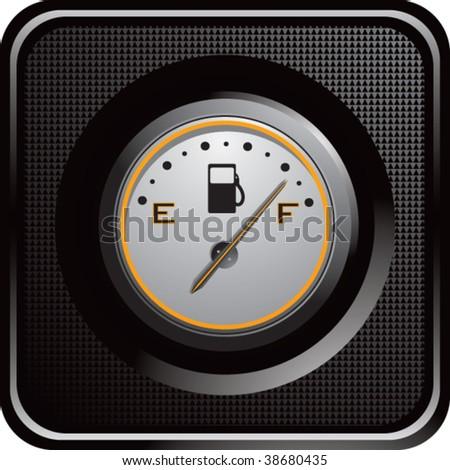 gas gauge on black checkered web button - stock vector