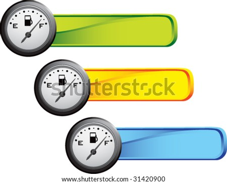 gas gauge on colored banners - stock vector