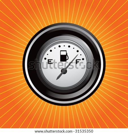gas gauge on starburst - stock vector