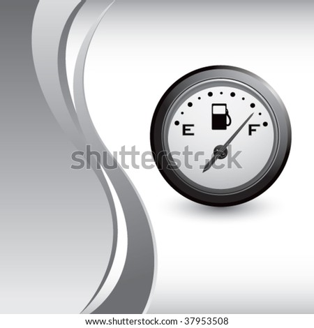 gas gauge on vertical silver wave background - stock vector
