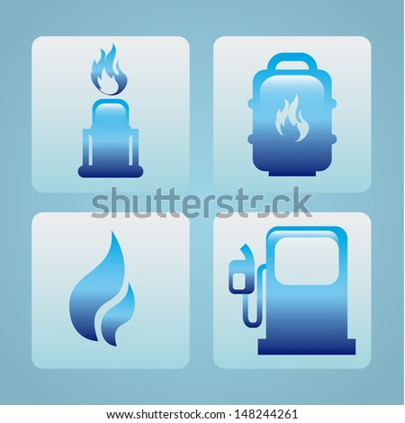 gas icons over blue background vector illustration  - stock vector