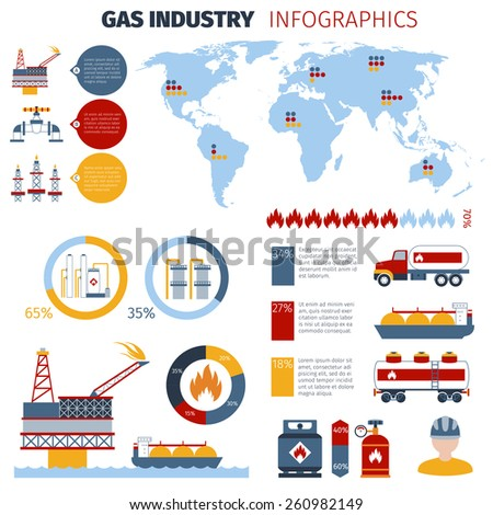 Gas infographics set with fuel industry charts and world map vector illustration - stock vector