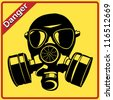 Gas mask. Danger sign - stock photo