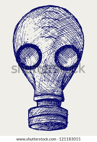 Gas mask. Doodle style - stock vector