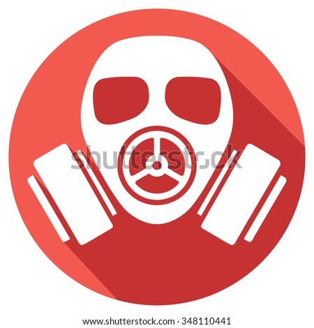 gas mask flat icon (gas mask warning sign, army gas mask icon, protective gas mask button, gas mask danger sign)  - stock vector