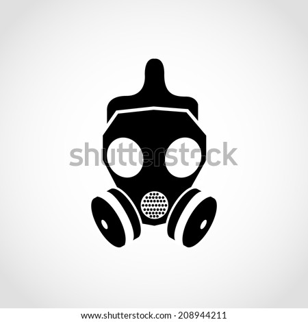 gas mask icon isolated on white    Gas Mask Silhouette Vector