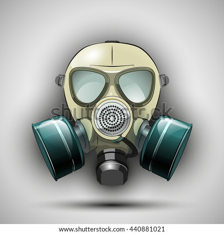 Gas mask respirator skull breather. Protective radiation suit. Breathing apparatus with two filters. Color Vector illustration - stock vector