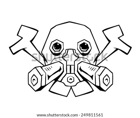 Gas mask with bones - stock vector