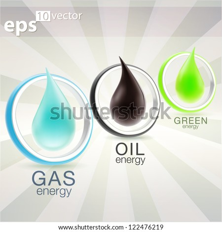 Gas, oil and eco-friendly energy resources drops inside round frame elements, emblems as eps10 vector icon illustration - stock vector