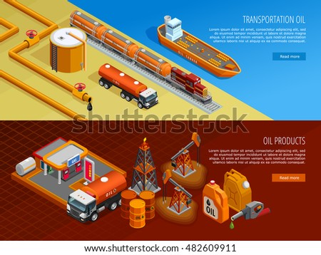 Gas oil industry storage and transportation facilities 2 isometric horizontal banners with filling station isolated vector illustration