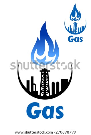 Gas processing factory icon or emblem with pipeline and blue flame for industrial design - stock vector