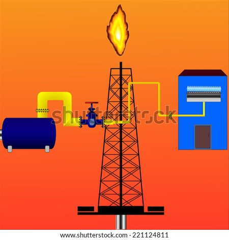 Gas production,gas rig,pipeline,gas burner - stock vector
