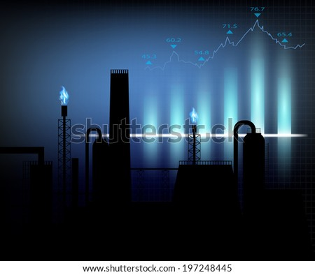 Gas production. Vector illustration of financial graph chart - stock vector