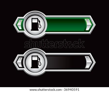 gas pump green and black arrows - stock vector