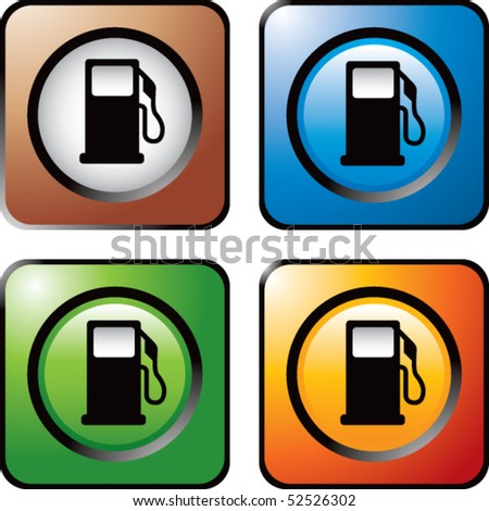 gas pump icon colored square web icons - stock vector