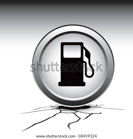 gas pump icon cracked ground - stock vector