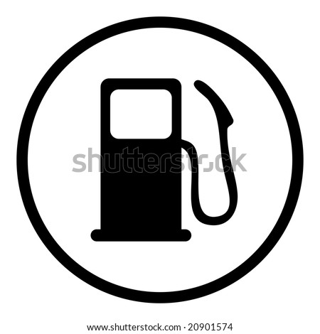 gas pump icon in circle line - stock vector