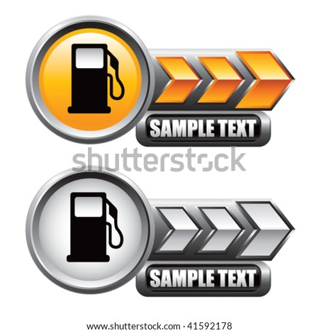 gas pump icon on gold and silver arrow banners - stock vector