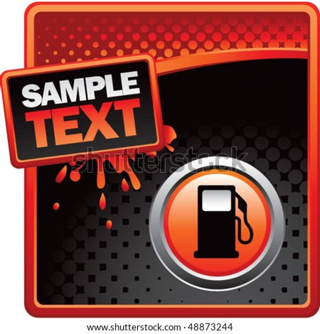 gas pump icon red and black halftone grungy ad - stock vector
