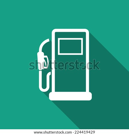 gas pump icon with long shadow - stock vector