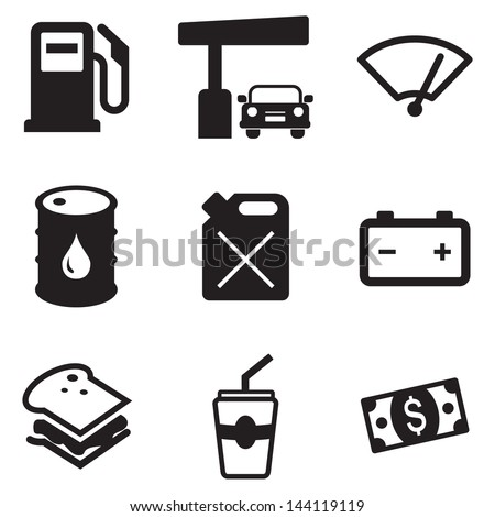 Gas Pump Icons - stock vector