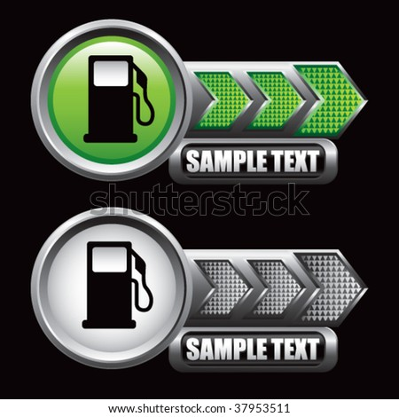 gas pump on green and silver arrows - stock vector
