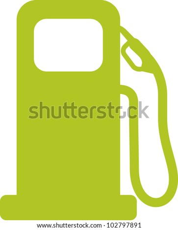 Gas pump sign. Green vector illustration - stock vector
