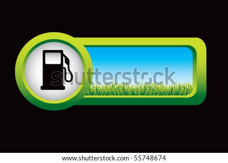 gas pump silhouette on countryside banner