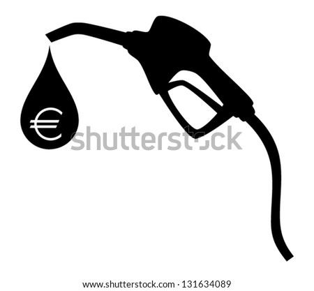Gas pump silhouette with big drop and symbol of euro inside.(no gradient, no transparent objects). Vector illustration - stock vector