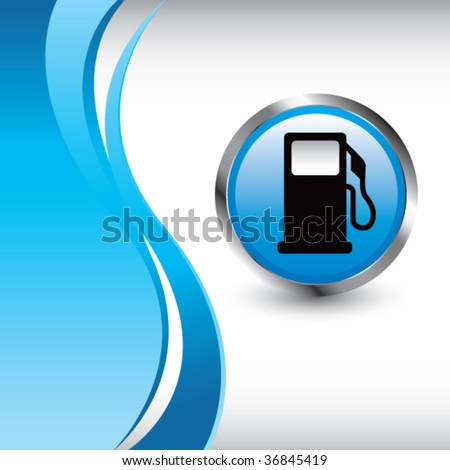gas pump wave template colored blue - stock vector