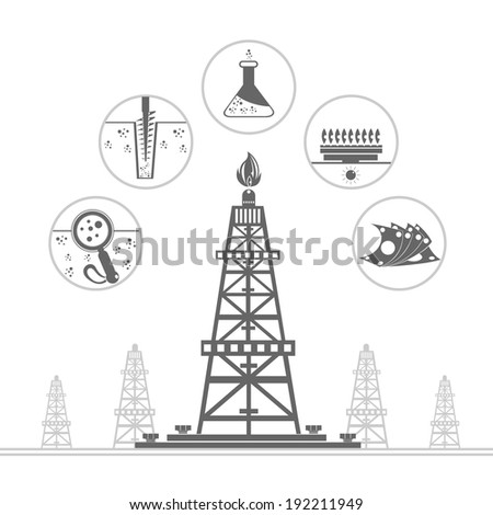 gas rig and circle icons with stages of process gas production  - stock vector