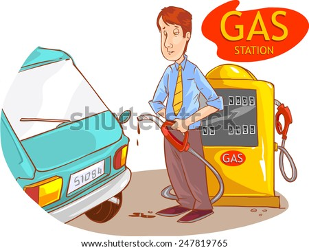 gas station and the guy - stock vector