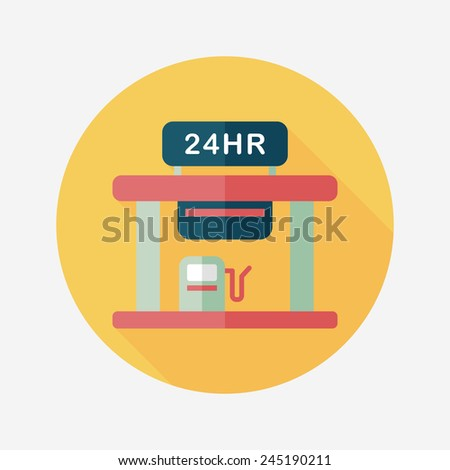 gas station flat icon with long shadow,eps10 - stock vector