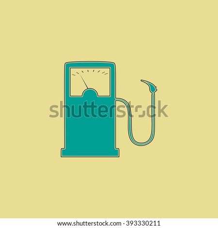 Gas station Flat line icon on yellow background. Vector pictogram with stroke - stock vector