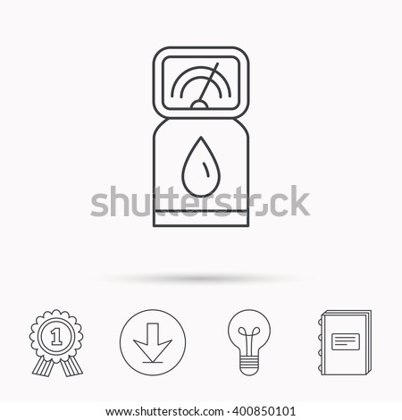 Gas station icon. Petrol fuel pump sign. Download arrow, lamp, learn book and award medal icons. - stock vector