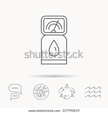 Gas station icon. Petrol fuel pump sign. Global connect network, ocean wave and chat dialog icons. Teamwork symbol. - stock vector