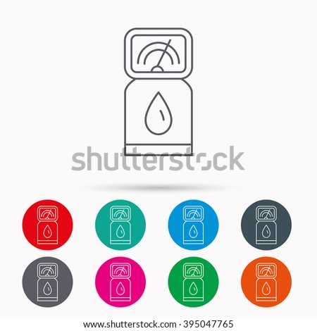 Gas station icon. Petrol fuel pump sign. Linear icons in circles on white background. - stock vector