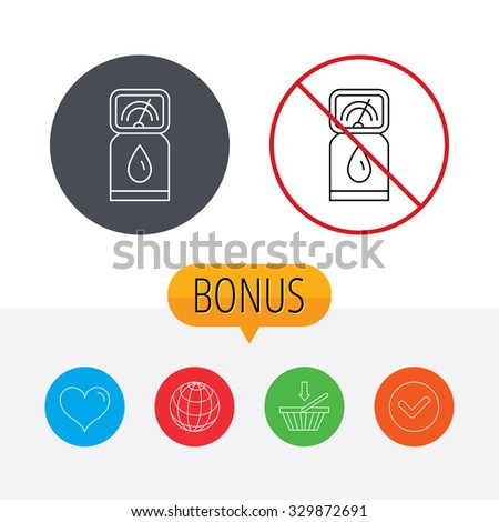 Gas station icon. Petrol fuel pump sign. Shopping cart, globe, heart and check bonus buttons. Ban or stop prohibition symbol. - stock vector