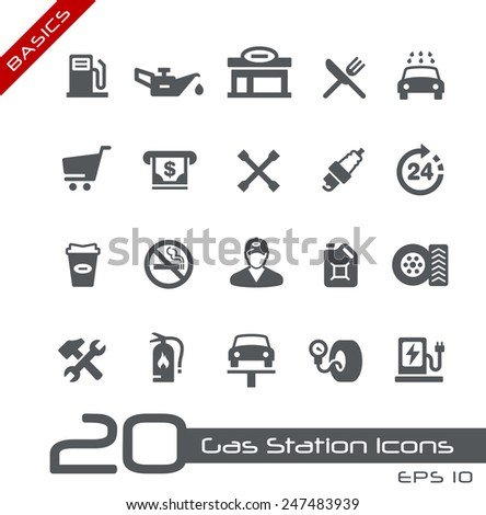 Gas Station Icons // Basics - stock vector