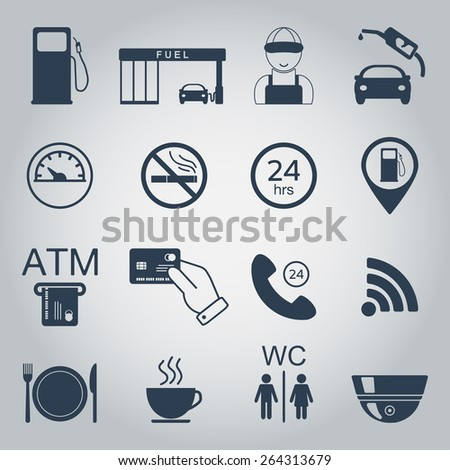 Gas station icons. Fuel silhouette icons. Monochrome. Vector illustration - stock vector