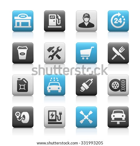 Gas Station Icons // Matte Series - stock vector