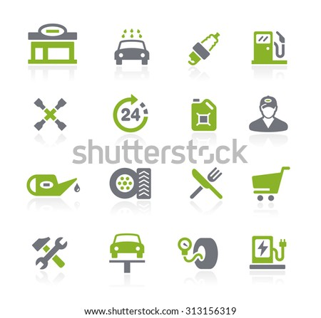 Gas Station Icons // Natura Series - stock vector