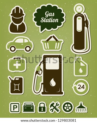 Gas station icons set - stock vector