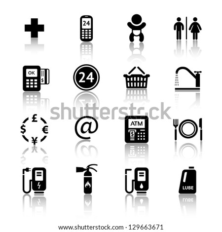 Gas station icons. Symbols Roadside services. Signs set car services - stock vector