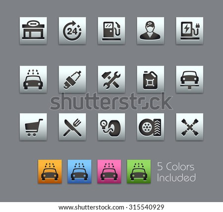 Gas Station Icons  The vector file includes 5 color versions for each icon in different layers ---- - stock vector