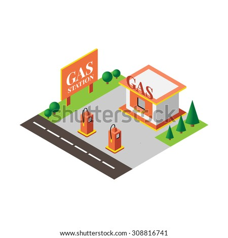 gas station in a flat 3d isometric style for games, cards, infographic, web  - stock vector