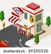 Gas Station Isometric - stock vector