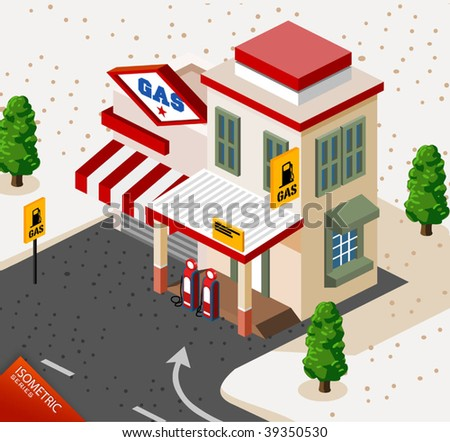 Gas Station Isometric