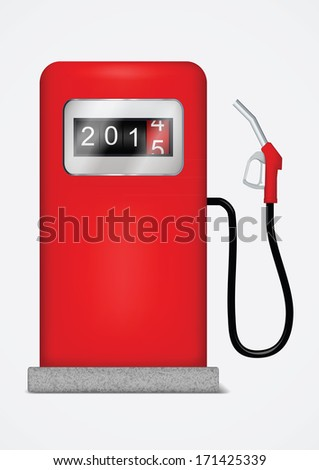 Gas station pump with fuel nozzle. Vector illustration - stock vector